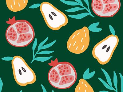 Tropical fruits fruits flat design vector pattern illustration