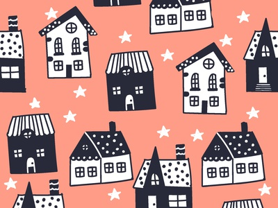 Houses and stars night house flat design vector pattern graphic design illustration