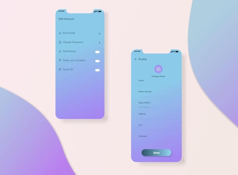 SettingScreen / Cleaning service App typography illustration minimal icon ui ux design app