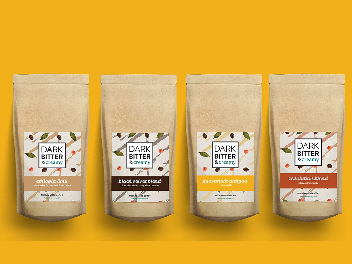 Dark Bitter and Creamy logodesign logo coffee packaging branding