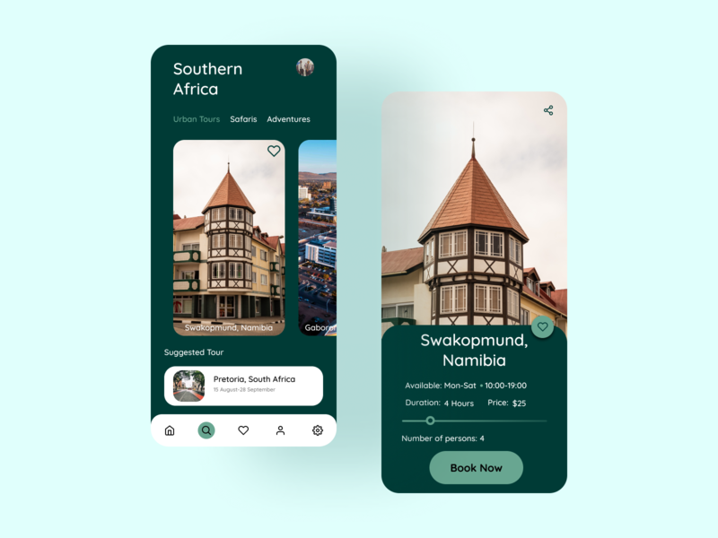 Travel Through Southern Africa travel ux uiux typography figma design app ui