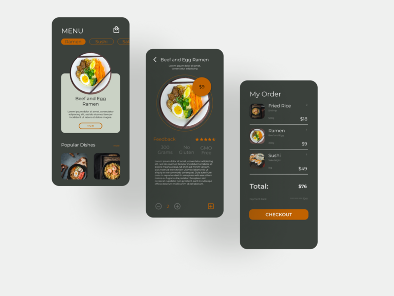 Restaurant App food branding ux uiux typography figma design app ui