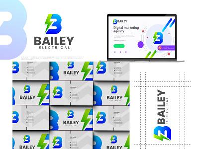 B + thunder logo 3d graphic design review