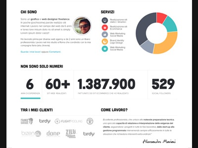 Portfolio Home Page restyling, below graph numbers statistic infographic colorful