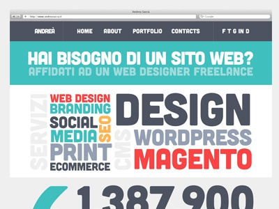 Flat Portfolio Typography Home Page magento typography type wordpress design servizi services print ecommerce cms