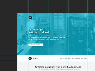 1604lab: HomePage Website Design webdesign blu logo design opacity portfolio home homepage grid guides