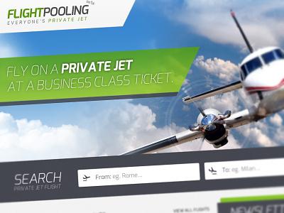 Flightpooling flight jet green exo airplane startup landingpage landing search input clouds