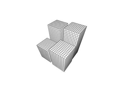 Cross-hatched Cuboid line geometric illustration svg 3d