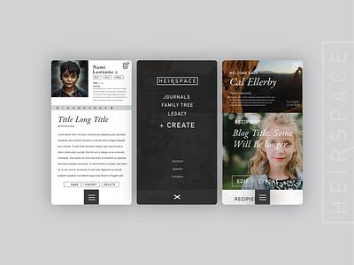 HeirSpace Mobile mobile ui menu preuve digital design digital preuve webdesign blog ui uidesign typography web-application web-app webapp back-end development dev