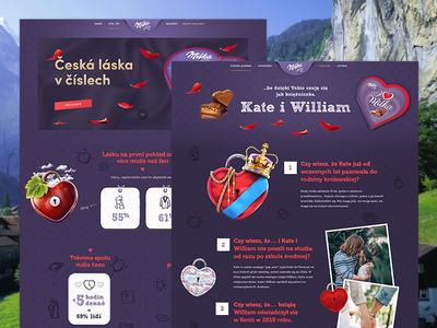 Milka l Valentine infographics sweet william kate chocolate kiss love purple milka