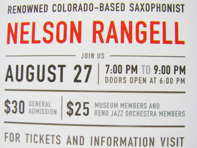 Jazz on the Roof - Closeup jazz on the roof nevada museum of art typography print