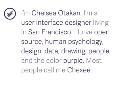 Chexee.me portfolio logo self