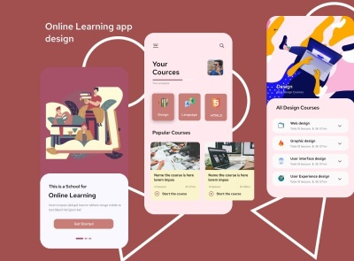 Education Learning App Free course education learning freebie ui kit product design mobile minimal interface design app
