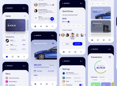 Banco Banking App Free bank wallet banking freebie ui kit product design mobile minimal interface design app