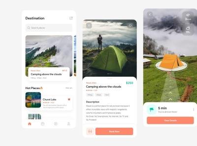 Camping AR App Free ar camping freebie ui kit product design mobile minimal interface design app