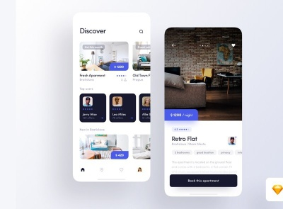 Rent Apartment App Free apartment rent freebie ui kit product design mobile minimal interface design app