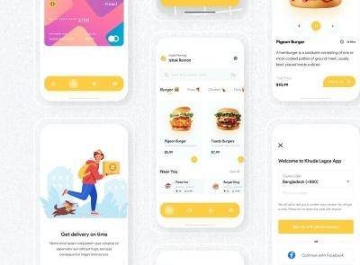 Food Delivery App UI Kit Free delivery food freebie ui kit product design mobile minimal interface design app