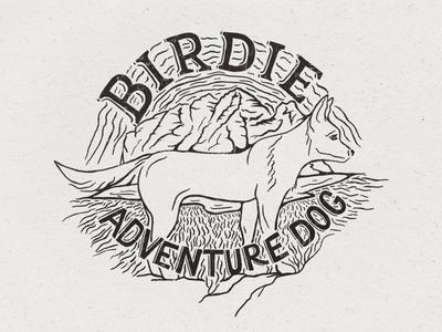 Birdie Adventure Badge illustration lettering adventure dog