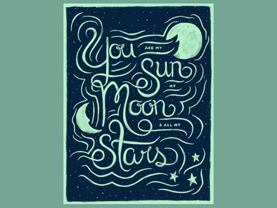 Nursery sun moon stars lettering illustration