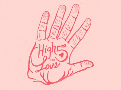 High Five for Love hands love type illustration