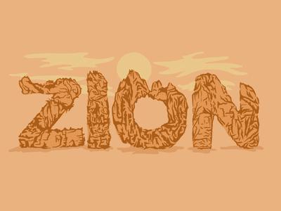 Zion nature adventure national park zion type illustration