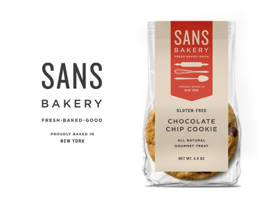 Sans Chocolate Chip Cookie Packaging gourmet vegan bakery startup nyc label gluten free food packaging logo branding