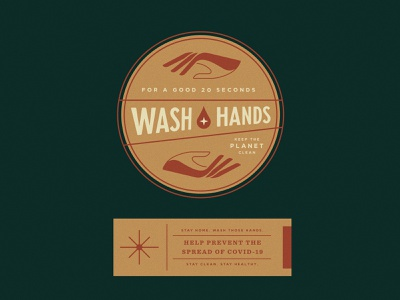 Wash Hands hand wash wellness covid19 sticker label badge branding
