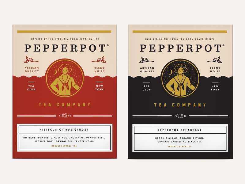 Pepperpot Tea Packaging 20s house illustration 3rdwave nyc tea entrepreneur startup design beverage label identity packaging logo branding