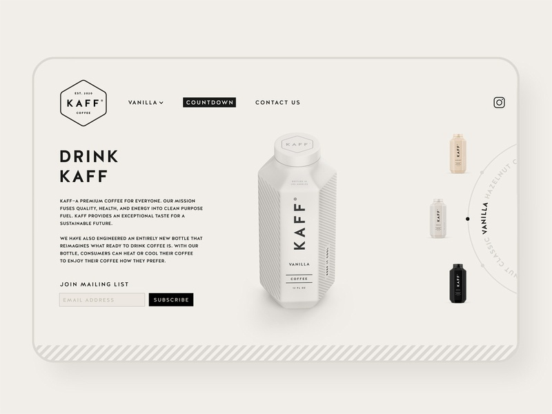 Kaff Coffee UI Design uidesign site web concept startup identity ux ui design beverage coffee logo branding