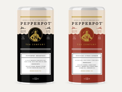 Pepperpot Tea Tin Can startup tea badge design beverage coffee label identity packaging logo branding
