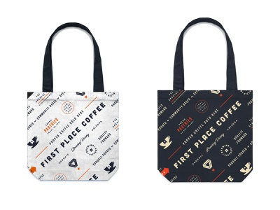 Tote Bags for FPC bag typography design beverage coffee branding logo packaging