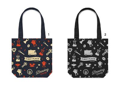 Tote Bags First Place Coffee tote logo beverage coffee packaging branding design bag