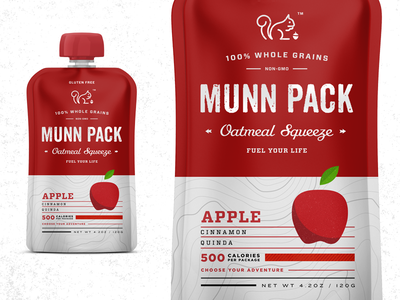 Oatmeal Squeeze Pack packaging fruit apple logo beverage food organic fuel squeeze oatmeal pack typography