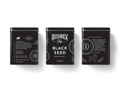 Bushwick Tea X Black Seed Bagels drink food bagel tea can tin design beverage label identity packaging logo branding