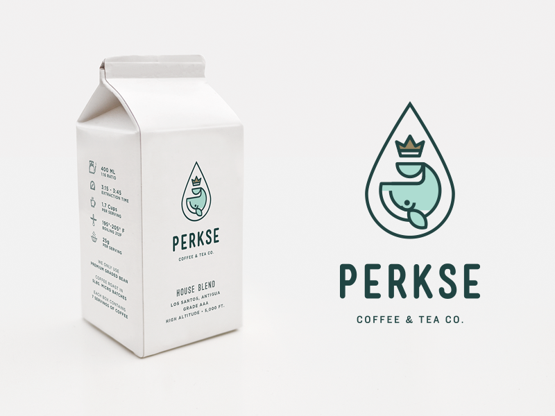 Perkse Box bag label coffee beverage tea packaging stamp whale box branding animal logo