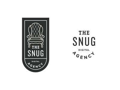 The Snug Digital Agency art deco badge chesterfield chair logo branding uk irish california pub cozy comfy