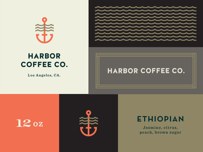 Harbor Coffee Co. pattern branding logo coffee roaster harbor label set beverage anchor