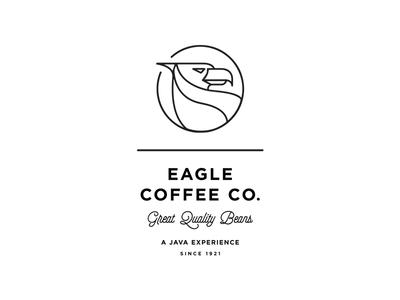 Eagle Coffee Branding line eagle coffee roasters baltimore beverage branding logo badge typography minimal