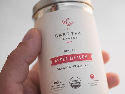 Bare Tea Apple Meadow company new york nyc specialty tea organic beverage logo branding packaging label bag