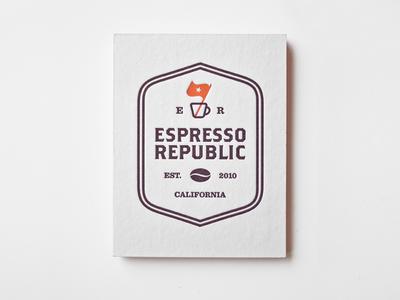 Espresso Republic business card letterpress letter press badge california espresso roasters coffee packaging branding logo