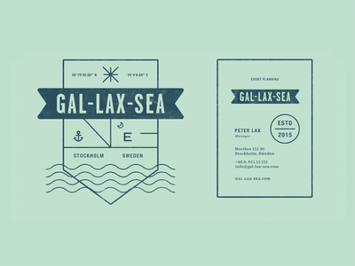 Gal-Lax-Sea pt.II.II business card logo gps event planning stockholm sweden badge sea ocean wave anchor