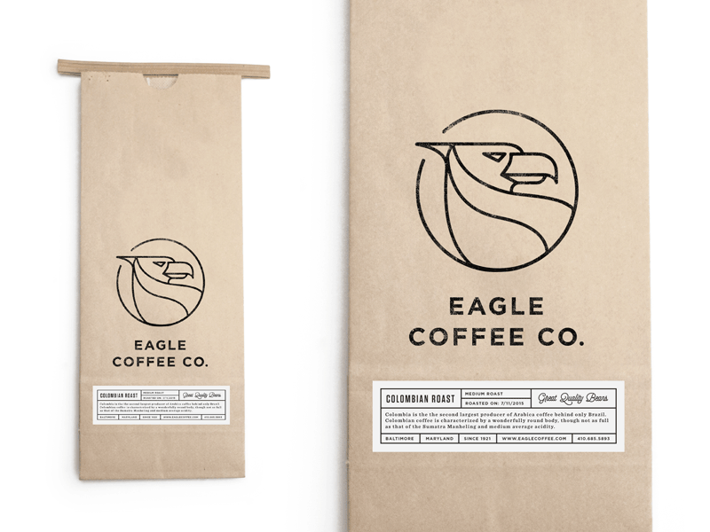 Eagle Coffee Bag baltimore logo packaging coffee branding roasters label iconography identity espresso bag