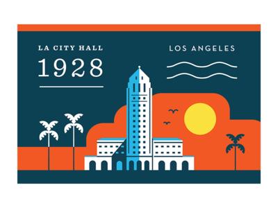 LA City Hall dtla downtown 31 december 24 march illustration california architecture art deco john parkinson los angeles building postcard