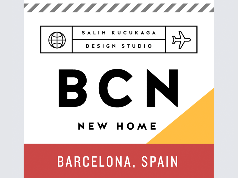 New journey spain barcelona label card business tag travel
