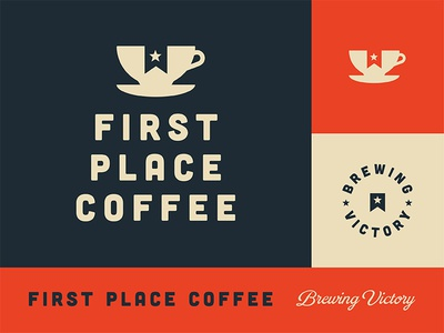 First Place Coffee shop cafe specialty brewing identity branding logo coffee
