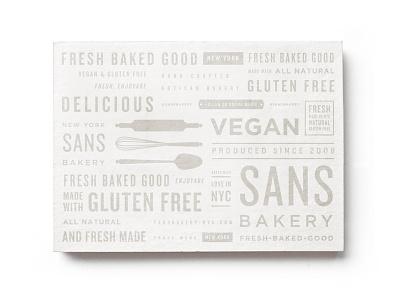 Sans postcard shop bakery artisan vegan gluten-free branding pattern nyc