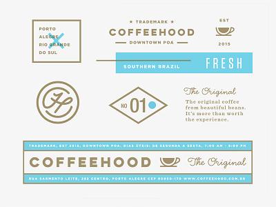 Coffeehood Brand Assets branding coffee beverage shop logo packaging food specialty artisan cafe drink