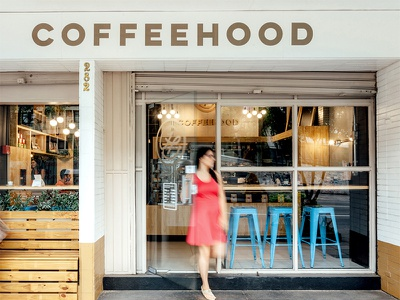 Coffeehood Signage drink cafe sign specialty food signage logo shop beverage coffee branding