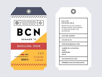Barcelona '17 bcn print studio card digital nomad travel flight tag barcelona business card