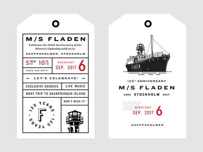 Fladen Tags lighthouse travel poster print tag historic branding logo badge sweden boat ship
